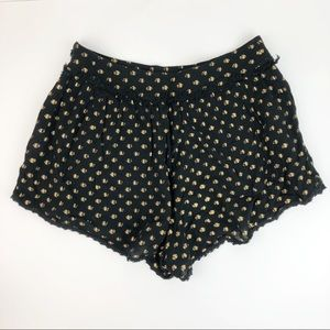 FREE PEOPLE black and gold crepe shorts 4